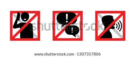 Keep Silence Symbol Sign, Red prohibition sign. Stop symbol. Stop talking. Stock Vector illustration Stock photo © kyryloff