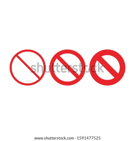 empty ban sign, prohibited not allowed red sign set, Stock Vector illustration isolated on white bac Stock photo © kyryloff