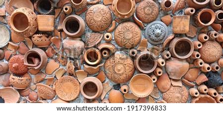 Közelkép cserépedények thai barna textúra fal Stock fotó © galitskaya