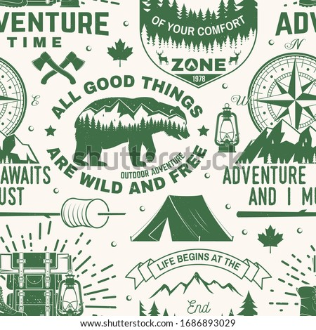 Camping seamless pattern with mountain forest label badges. Unknown wildland text. Travel wallpaper  Stock photo © JeksonGraphics