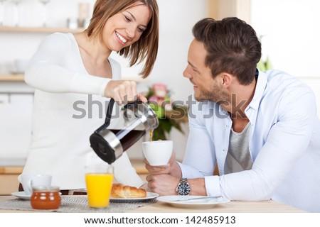 Mosolyog nyugodt férj feleség ital kávé Stock fotó © vkstudio