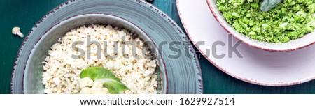 Bandeira couve-flor arroz brócolis tigela verde Foto stock © Illia