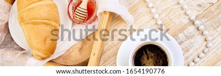 Banner goedemorgen continentaal ontbijt houten goede ontbijt Stockfoto © Illia