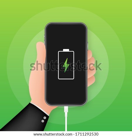 Gadget battery charging icon, Stock Vector illustration isolated on blue background. Stock photo © kyryloff