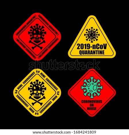Coronavirus on car and home sticker Quarantine set. Virus 2019-n Stock photo © popaukropa