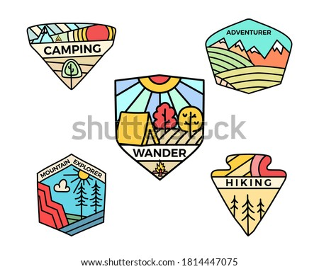 Bağbozumu kamp logo dağ rozetler ayarlamak Stok fotoğraf © JeksonGraphics