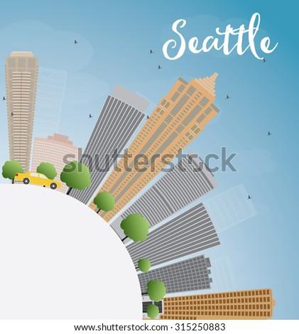 Seattle grijs gebouwen blauwe hemel kopiëren Stockfoto © ShustrikS