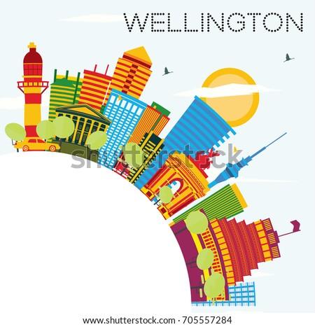Wellington linha do horizonte azul edifícios cópia espaço Foto stock © ShustrikS
