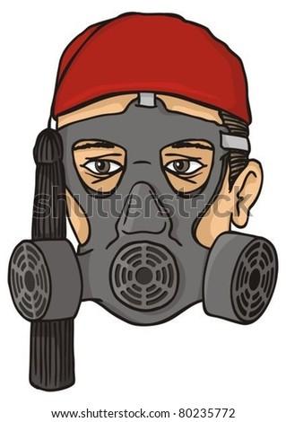 Stock photo: Greek evzone head with gas mask