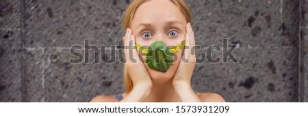 Kadın yüz maske yaprakları hava Stok fotoğraf © galitskaya