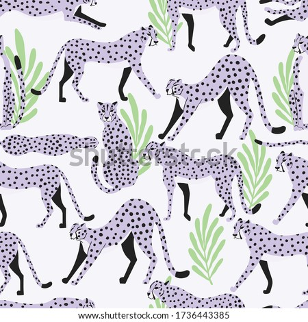 Seamless pattern with hand drawn exotic big cat cheetahs, with tropical plants and abstract elements Stock photo © BlueLela