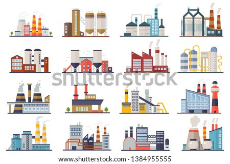Factori or power plant flat design of vector illustration. Manufactory industrial building refinery  Stock photo © designer_things