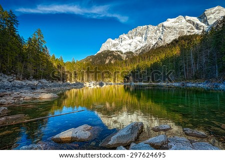 Frillensee lake and Zugspitze - the highest mountain in Germany Stock photo © dmitry_rukhlenko