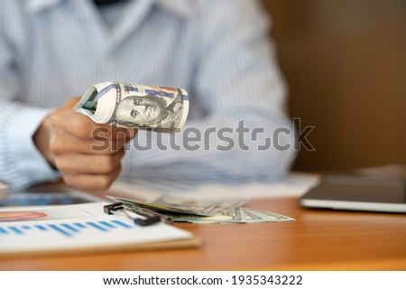 Money in human hands form of dollar bills, Businessman is counti Stock photo © Freedomz