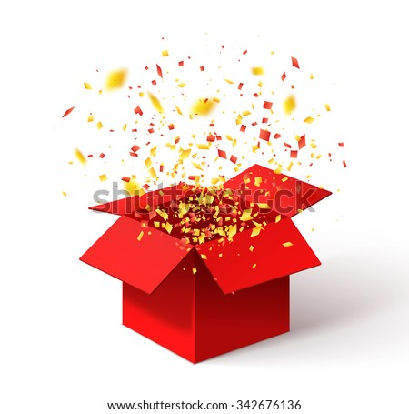 Red gift box and colorful confetti on yellow background Stock photo © dashapetrenko