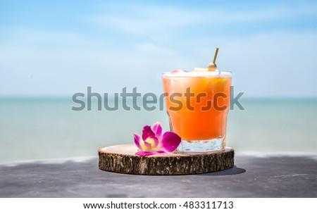Cocktail woman drinking mai tai drink at outdoor bar on Waikiki beach, Honolulu, Oahu, Hawaii. Asian Stock photo © Maridav