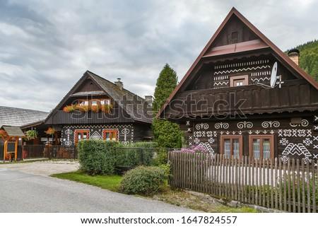 Folk Architecture In Cicmany Slovakia Stockfoto © Borisb17