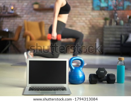 Fitness at home strength training program with dumbbells weights, resistance bands for cross fit wor Stock photo © Maridav