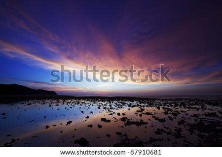 Spectaculaire coucher du soleil côte plage phuket île Photo stock © moses