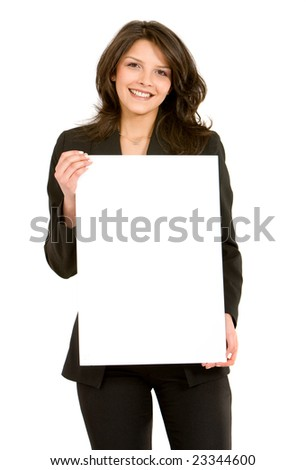 Young woman displaying a banner add isolated over a white backgr stock photo © scornejor