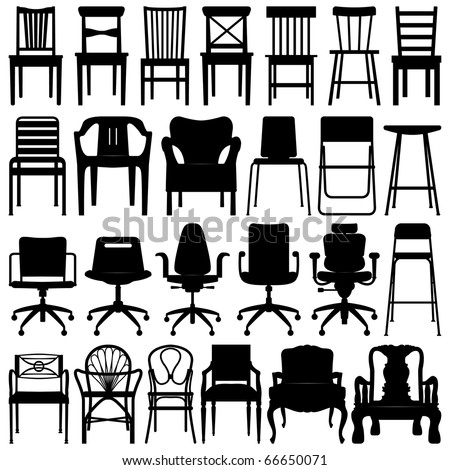 Big set Illustrations of office chairs isolated on white backgro Stock photo © leonido