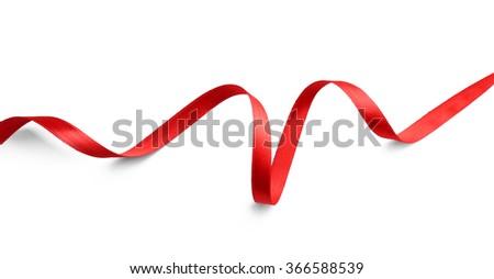Rood zijde lint geïsoleerd witte gift card Stockfoto © maxpro