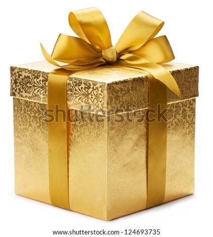 gold gift box and ribbon stock photo © m-studio