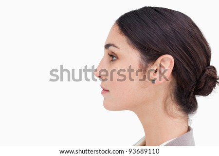 Close up of saleswoman looking to the side against a white background Stock photo © wavebreak_media