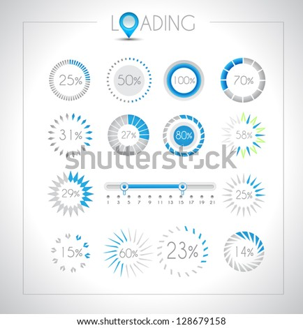 Set of Loading design elements - a lot of different styles with space for percentage Stock photo © DavidArts