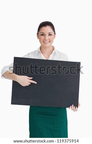 Pincérnő mutat iskolatábla tart fehér boldog Stock fotó © wavebreak_media