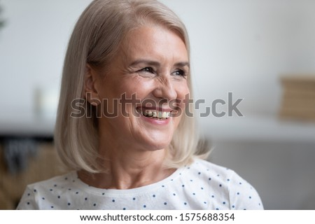 Bliss. Enjoyment. Cheerful Woman's Face with Happy Smile. Happiness & Felicity Stock photo © gromovataya