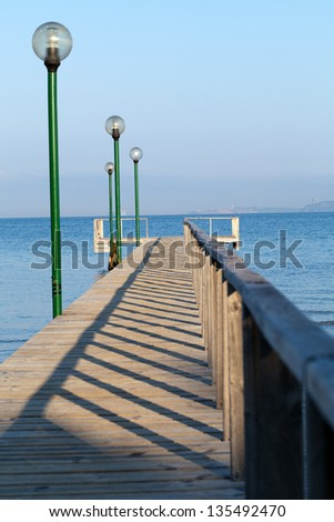 The wooden platform in Dardanelles. The view from Asia on Europe Stock photo © wjarek