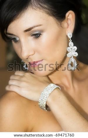 beautiful and attractive female woman posing in diamond lingerie stock photo © bartekwardziak