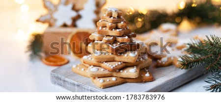 christmas tree mold closeup in front of cinnamon and presents Stock photo © Rob_Stark