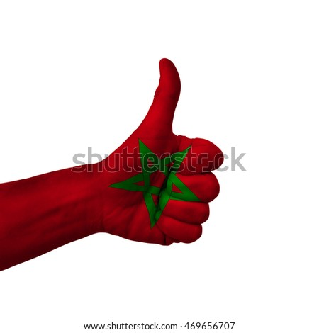 morocco national flag thumb up gesture for excellence and achiev Stock photo © vepar5