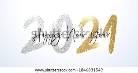 Celebration brochure design happy new year shiny text template v Stock photo © bharat