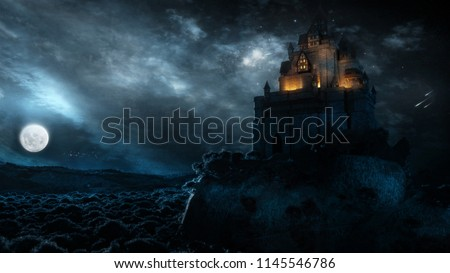 Illustration of night forest with full moon, a castle and ravens in the air. Stock photo © ankarb