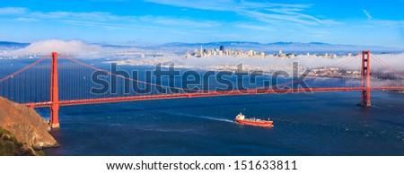 San · Francisco · Golden · Gate · Bridge · crépuscule · nord · Californie · bleu - photo stock © meinzahn