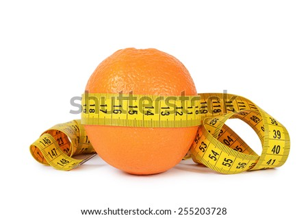 Stock photo:  tape measure wrapped around the orange isolated on white backgr
