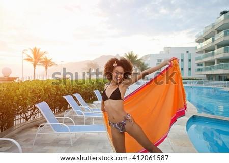 mooie · jonge · vrouw · permanente · zwembad · vrouw · water - stockfoto © monkey_business