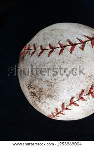 Baseball closeup showing stitches and seams with dirt Stock photo © cmcderm1