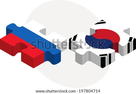 Russian and South Korean Flags in puzzle isolated on white backg Stock photo © Istanbul2009