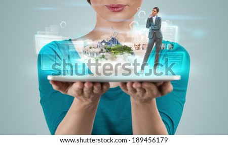 Woman tablet computer project island buildings business presenta Stock photo © HASLOO
