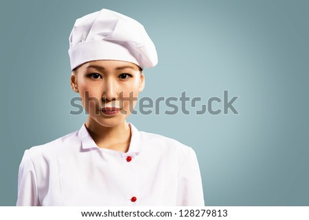 leche · bigote · Asia · mujer · chef · potable - foto stock © ambro