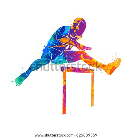 Illustration of a track and field athlete running jumping the hu Stock photo © leonido