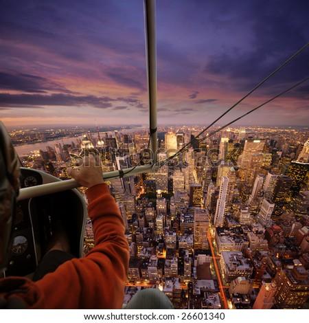 Hang glider over buildings Stock photo © smuki