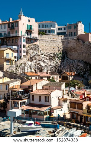 View of Vallon des Auffes, picturesque old-fashioned little fish Stock photo © meinzahn