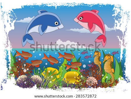 childrens maritime cover design with baby dolphin vector illustration stock photo © carodi