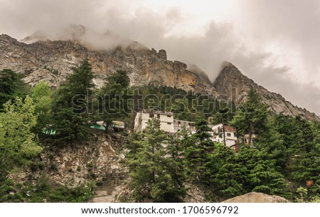 Temple at Bhagirathi River, Gangotri, Uttarkashi District, Uttar Stock photo © imagedb