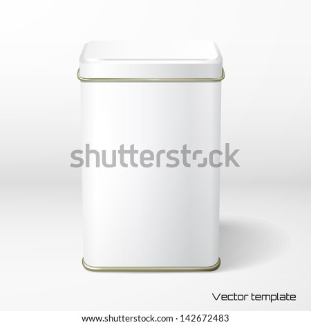 Vector object. White square tin packaging. Tea, coffee, dry products Stock photo © netkov1